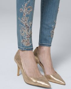 291b7a988 Women's Petite Classic-Rise Paisley-Embellished Skinny Ankle Jeans by White  House Black Market