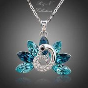 White Gold Plated Peacock Tailed SWAROVSKI Element Crystal Pendant Necklace