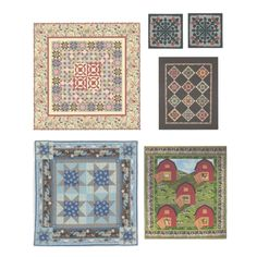 Sheet of 6 Homey Quilts