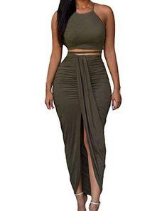 3cf2bf495 Womens Sexy Cotton Sleeveless Slit Two Piece Maxi Skirt Set L Olive