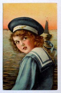 Blonde Child in Sailor Suit & Hat Color Postcard, Sailboat Ship Water, Rotterdam Netherlands, Dutch, 1925, Antique Vintage by OakwoodView, $5.00
