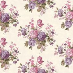 The Wallpaper Company 56 sq. ft. Purple and Pink Pastel Cottage Rose Wallpaper-WC1283834 at The Home Depot