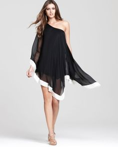 ABS by Allen Schwartz One-Shoulder Handkerchief Dress