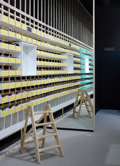 """Eye Candy, Belgium (colour-coded boxes become packaging, shelves and interior design. Like the subtle """"private"""" sign too)"""