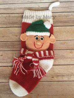 PDF Pattern: Elf Stocking Crochet Pattern Only Not Actual Crochet Christmas Stocking Pattern, Crochet Stocking, Crochet Christmas Decorations, Knitted Christmas Stockings, Crochet Decoration, Xmas Stockings, Holiday Crochet, Christmas Knitting, Christmas Items