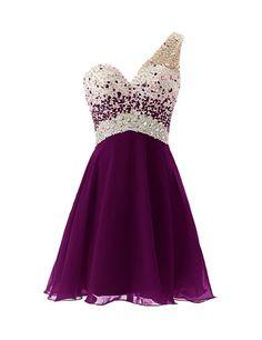 Dresstells® Short Homecoming Dress Beadings One Shoulder Prom Evening Dress Purple Size 2