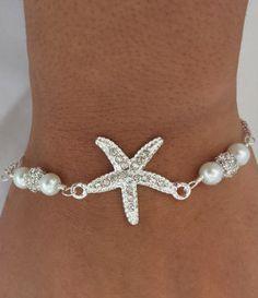 Pearl & Silver Rhinestone Starfish Bracelet