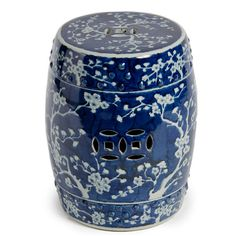 Garden Seats Ceramic | Finely Finished Ceramic Garden Stool   17 Inch    Classic Blue And