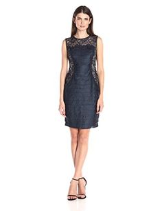 London Times Womens Shimmer Shutter and Lace Sleeveless Sheath Dress Navy 6 * Visit the affiliate link Amazon.com on image for more details.