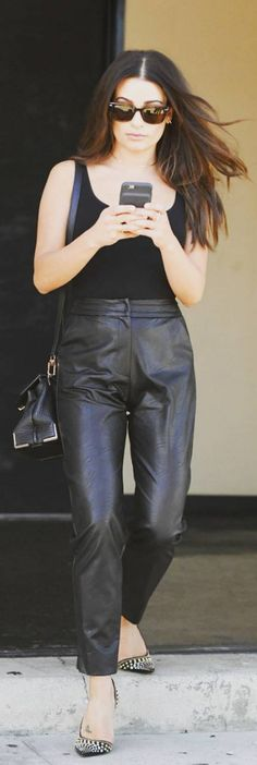 Lea Michele wearing Wolford, Alex, Maria Lucia Hohan, Ariel Gordon, Ray Ban and Cesare Paciotti Lea Michele, Wolford, Black Tank Tops, Ariel, Sunglasses, Celebrity Style, Ray Bans, Leather Pants, Purse