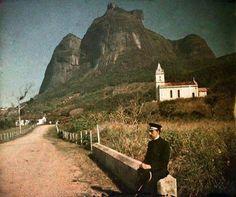 An auto-chrome colored picture taken by photographer Marc Ferrez in São Conrado, RJ, in 1915.  Nowadays São Conrado is quarter of Rio de Janeiro with hardly any grass left.