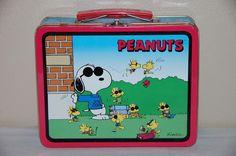 Peanuts Lunch box Metal Snoopy Charlie Brown Gang Schulz 1998 Red Joe Cool