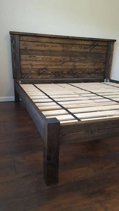 How to build a beautiful DIY bed frame & wood headboard easily. Free DIY bed plan & variations on king, queen & twin size bed, best natural wood finishes, and lots of helpful tips! - A Piece of Rainbow Pallet Furniture, Furniture Projects, Bedroom Furniture, Luxury Furniture, Wood Bedroom, Pallet Projects, Master Bedroom, Diy Pallet, Furniture Design