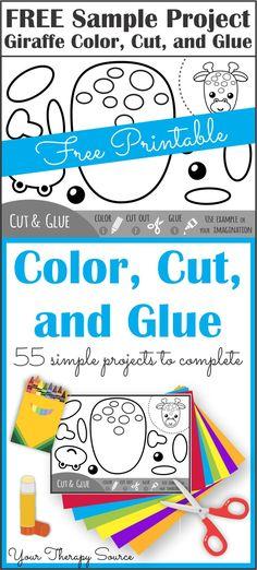 Color, Cut, and Glue Giraffe Project