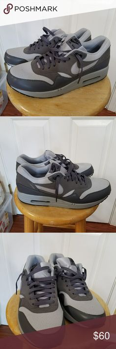 Nike Air Max 1 Wolf grey/light grey Nike Air Max 1 only worn twice. Practically brand new. Slight scuff on right shoe behind nike check. See last picture. A great deal. I like to shop so selling them to buy more stuff lol but will keep if need be. Accepting offers but they are pretty much priced to sell. Not looking to go much lower. Thanks Nike Shoes Sneakers