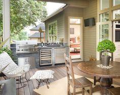 A beautiful outdoor kitchen deck.
