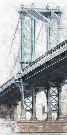 Manhattan Bridge NYC Tall BW Art Print by Melissa Smith. Nyc Drawing, Bridge Drawing, Manhattan Bridge, Brooklyn Bridge, Ny Skyline, Skyline Painting, City Sketch, Nyc Art, Black And White Pictures
