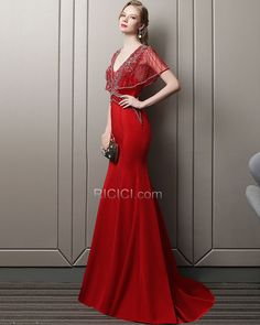 abb21ed43a1c85 Tulle Mermaid Backless Prom Dresses Satin 2018 Sexy Low Cut Beaded Red  Short Sleeve Evening Dresses Luxury
