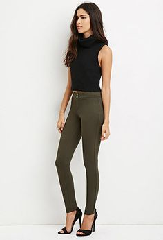 Flat Front Stretch-Knit Pants | Forever 21 - 2000180283