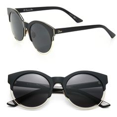Dior Sideral 53MM Round Sunglasses (€435) ❤ liked on Polyvore featuring accessories, eyewear, sunglasses, apparel & accessories, black, round metal frame sunglasses, christian dior sunglasses, rimmed glasses, uv protection sunglasses and cut out sunglasses