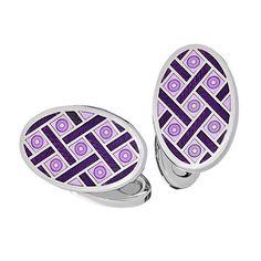 Lavender with Navy Oval Criss Cross Enamel Cufflinks