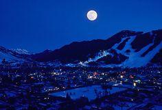 Jackson, WY in moonlight