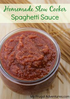 Fast and healthy Crock Pot spaghetti sauce. Delicious and packed with veggies!  Keep a jar in the freezer for busy nights!