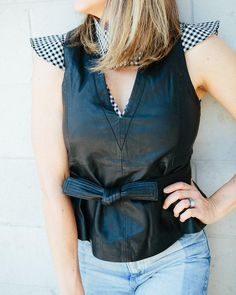 Marissa Webb Leather Shell // Marissa Webb Gingham Crop Top // Blogger Lindsey Lutz from Life Lutzurious lists her favorites from the Intermix and Nordstrom designer sales