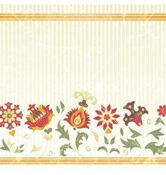 Background with retro flowers vector on VectorStock®