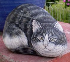Cat | Rock painting art by Roberto Rizzo