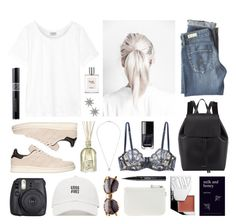 """""""Milk and honey"""" by sophiehackett ❤ liked on Polyvore featuring Frame, Fuji, AG Adriano Goldschmied, Alexander Wang, Dr. Vranjes, Nine West, Mansur Gavriel, adidas Originals, philosophy and Kjaer Weis"""