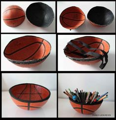 cesta basketball Upcycled Basketball Ball in accessories with Upcycled Recycled Pencil holder Basketball. Now I know what to do with that basketball that wont stay inflated! Basketball Crafts, Basketball Bedroom, Basketball Tricks, Love And Basketball, Volleyball Room, Basketball Tattoos, Basketball Drawings, Basketball Wall, Basketball Design