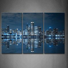 Blue Cool Buildings In Dark Color In Chicago Wall Art Painting The Picture Print On Canvas City Pictures For Home Decor Decoration Gift Wall Canvas, Canvas Prints, Wall Art, Canvas Paintings, Canvas Art, Home Pictures, Pictures To Paint, Canvas Pictures, Print Pictures