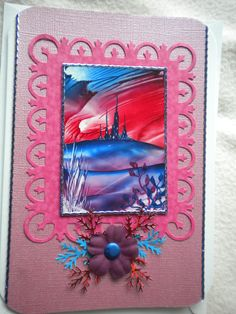 one of my handmade cards using on of my encaustic art toppers