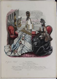 Saison, La - Visit our pictorial archive for Regency, Victorian and Edwardian ladies fashion magazines. Fashion Plates, Fashion Magazines, 1870s Fashion, Antique Books, Wedding Guest Book, Hand Coloring, Ladies Fashion, Womens Fashion, Winter Fashion