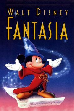 Fantasia originated as The Sorcerer's Apprentice (a cartoon short similar to the Silly Symphonies) in which Disney planned to boost Mickey Mouse's popularity. Walt Disney, Disney Films, Disney Movie Posters, Disney Love, Mickey Movie, Film Pixar, Pixar Movies, Fantasia Disney, Bon Film