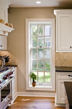 Cottage double hung with deep sill
