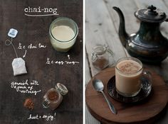 Cozy up with a warm cup of Chai-Nog! Just mix one part chai tea (from a tea bag) with one part egg nog, then sprinkle with nutmeg. Spike it with a bit of whiskey or rum for a nightcap!