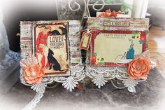 Scraps Of Elegance Scrapbook kits - Dec. Ever-True Kit - shabby chic pet / dog themed mini album, featuring the Graphic 45 Raining Cats & Dogs collection that is included in the kit.