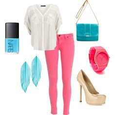 """pink and turquoise"" by paulette-lanni on Polyvore"