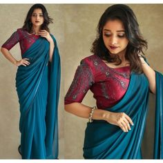 Blue pure georgette satin lace border saree with handwork blouse - Sarees - Kerala Saree Blouse Designs, Saree Blouse Neck Designs, Fancy Blouse Designs, Blouse Patterns, Saree Wearing Styles, Saree Styles, Plain Saree With Heavy Blouse, Saree Color Combinations, Satin Saree