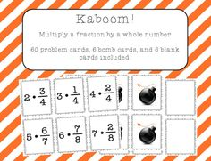 This game is a great way to have kids practice multiplying a fraction by a whole number.  Instructions for how to play whole class or in small groups are included, along with 60 problem cards, 6 bomb cards, and 6 blank cards. Fun Math Activities, Math Games For Kids, Math Resources, Elementary Math, Kindergarten Math, Teaching Math, Fifth Grade Math, Sixth Grade, Fourth Grade