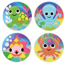 French Bull - Ocean Kids Round Plate Set - 4 Assorted These little creatures are our favorite ocean buddies. Fantastical fish, swaying octopi, clever crabs, and oh so sweet turtles have so much fun playing together. Sweet Turtles, Outdoor Dinnerware, Kids Plates, Plate Sets, In Kindergarten, 3 D, Vibrant Colors, Kids Rugs, Ocean