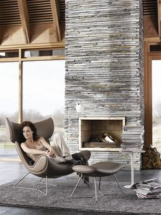 An interior design service tailored to you. BoConcept is a Danish furniture store that turns houses into modern homes. Browse our designer furniture. Modern Stone Fireplace, Stone Fireplace Designs, Fireplace Tile Surround, Grey Fireplace, Fireplace Surrounds, Craftsman Fireplace, Stone Fireplaces, Fireplace Ideas, Design Living Room