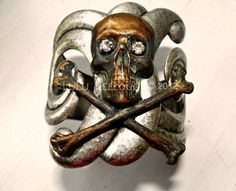 Skull bangle cuff bracelet.  Upcoming new work from LuLu Kellogg
