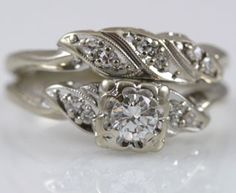 Vintage Bridal Ring Sets | traditionally designed diamond wedding set. This engagement ring ...