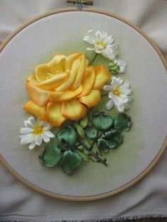 Wonderful Ribbon Embroidery Flowers by Hand Ideas. Enchanting Ribbon Embroidery Flowers by Hand Ideas. Ribbon Art, Diy Ribbon, Ribbon Crafts, Flower Crafts, Ribbon Flower, Ribbon Embroidery Tutorial, Silk Ribbon Embroidery, Embroidery Patterns, Embroidery Supplies