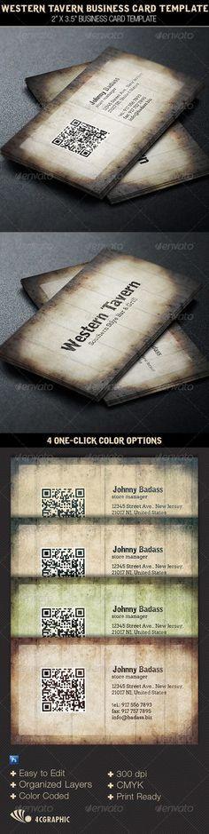 Western Tavern Business Card Template — Photoshop PSD