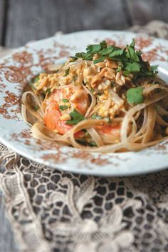 Pad Thai with Shrimp and Peanut Sauce   Recipe from '3 Times a Day' by Marilou Champagne and Alexandre Champagne