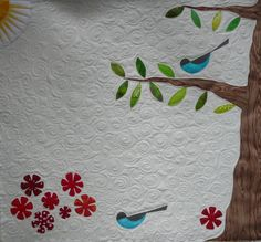 """DQS10 quilted (inspired by a bird design's Charley Harper illustration from """"Dinner for two"""" book) 